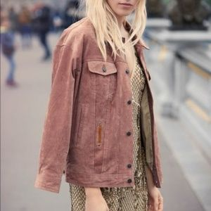 Free People Trucker Jacket Sand Suede Coat Sz M/L